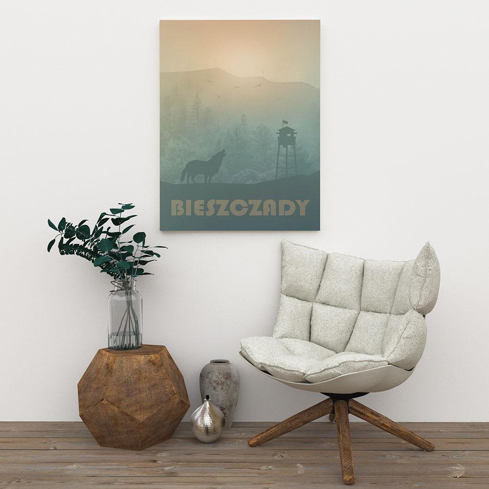dekoracja ścienna - plakat Bieszczady - projekt wnętrza - wystrój - aranżacja