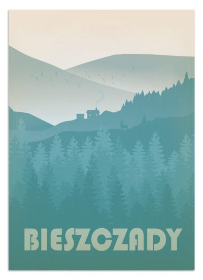 Sielski widok na Bieszczady o świcie słońca. Na tle gór widać siedlisko. Z gęstego lasu wyłania się jeleń. Plakat Bieszczady
