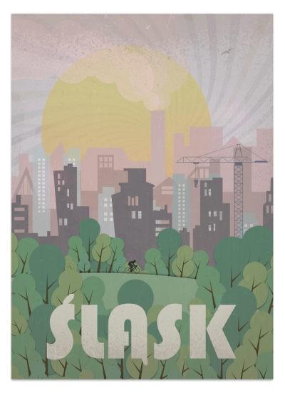 Piękny zachód słońca na Śląskiem. Plakat Śląsk - grafika wektorowa do dużych wydruków.