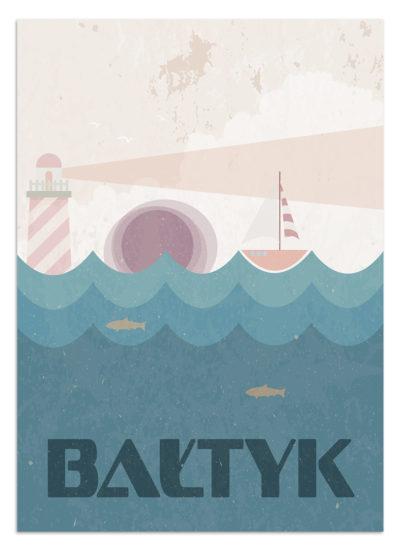 Plakat na polskie morze Bałtyk. W tle łódka i latarnia morska. W morzu widoczne ryby. Na niebie unoszą się mewy.