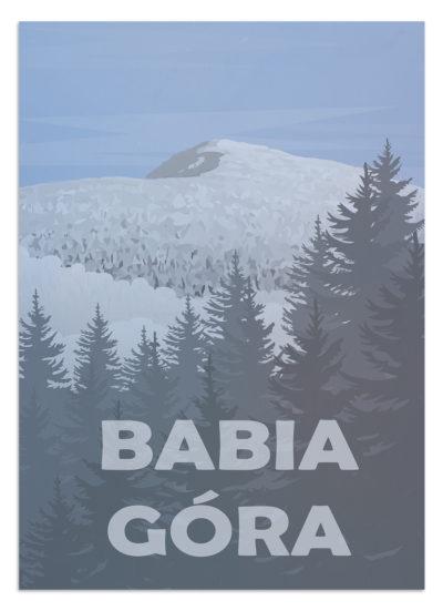 Babia Góra - plakat z widokiem na Babią Górę - najwyższa górę w paśmie górskim Beskidy