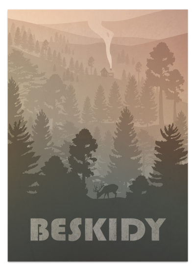 Plakat Beskidy w odcieniach brązu - sielankowy widok na góry i lasy. Na pierwszym tle jeleń. Dalej widoczne siedlisko.