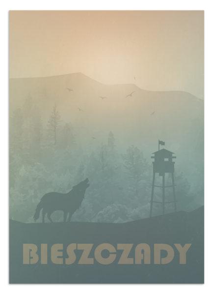 Plakat bieszczady - grafika wektorowa duży format druk wielkoformatowy