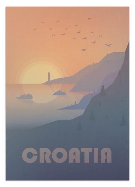 Widok na chorwackie wybrzeże o zachodzie słońca