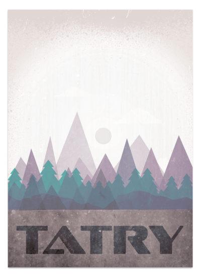 Abstrakcyjny widok na polskie góry Tatry - plakat - grafika wektorowa w stylistyce vintage