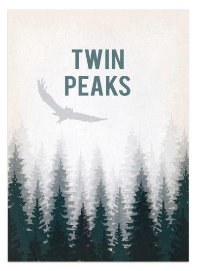 Góry Twin peaks. Sowa latająca nad tajemniczym lasem. Plakat - grafika wektorowa do samodzielnego wydruku