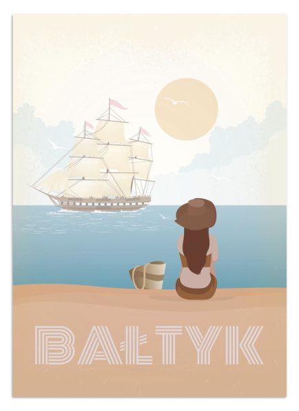 Statek masztowy pływa po Bałtyku
