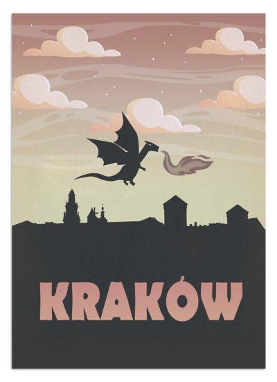 Smok wawelski unoszący się na Krakowem