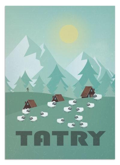 Owce na hali - plakat podróżniczy