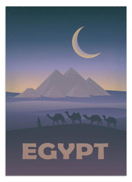 Plakat podróżniczy - Egipt - widok na Piramidy