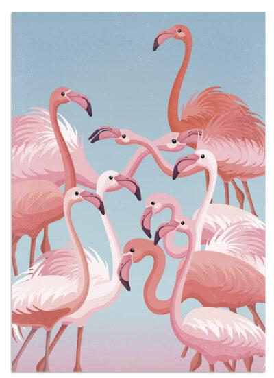 Różowe flamingi w lagunie